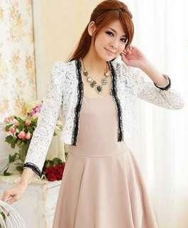 New Korean Ladies Slim Shrug Long Sleeve Lace Jacket Top White Color