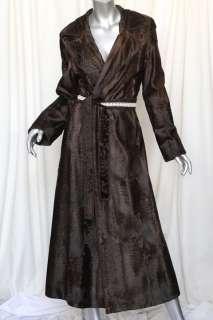 DENNIS BASSO+SAKS Brown RUSSIAN BROADTAIL LAMB FUR Long Belted Coat