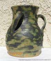 Vintage American Art Pottery Signed Fulper 6.5 Vase 3 Handles