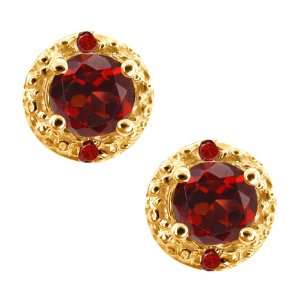 0.77 Ct Round Red Garnet Gemstone Gold Plated Sterling