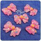 Q201 Lucite Flatback charm bead Pink bow tie (5pcs)