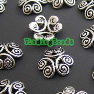 100Pcs Tibetan Silver Flower DIY Bead End Caps TS1874