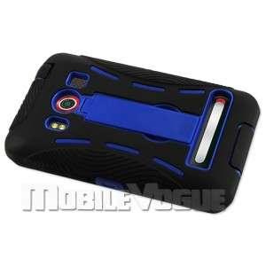Premium Hybrid Case Skin Cover for HTC EVO 4G Sprint Black&Navy