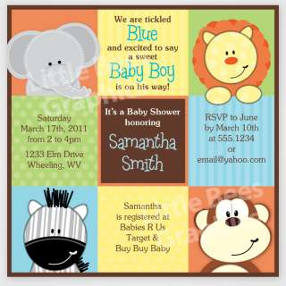 20 Jungle Squares Baby Shower Birthday Invitations