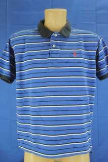Polo Assn. Size Large Blue Stripe SS Polo Shirt Blue, Black