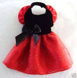 Black Velvet Red Satin Dog Dress clothes Gown small