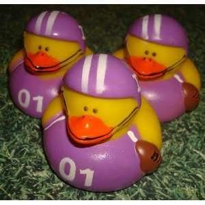 12 Football Rubber Ducks Purple Shirts