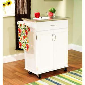 Kitchen Cart, White with Stainless Steel Top