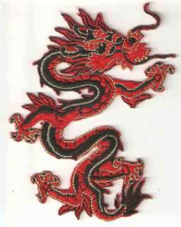 Chinese DRAGON Red Gold Embroidered Iron On Patch Badge