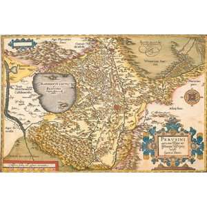 Map of Italy Near Florence by Abraham Ortelius 18x12 Home