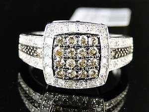 WOMENS WHITE GOLD CHOCOLATE BROWN DIAMOND WEDDING BAND RING 1/2 CT