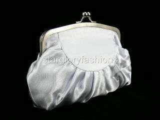 ELEGANT SILVER SATIN BIG ROSE WEDDING PURSE CLUTCH