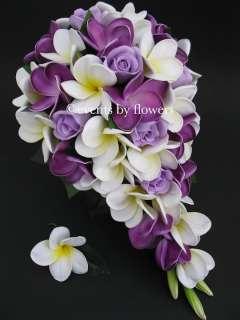 PURPLE ROSE PLUMERIA FRANGIPANI WEDDING BOUQUET BRIDE BRIDAL FLOWERS