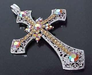 Large ORNATE Filigree Aurora Borealis Swarovski Crystal CROSS Pendant