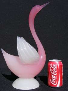 Large Archimede Seguso Murano alabastro glass swans birds