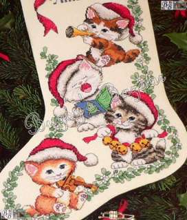 Dimensions MERRY KITTENS Counted Cross Stitch Christmas Stocking Kit