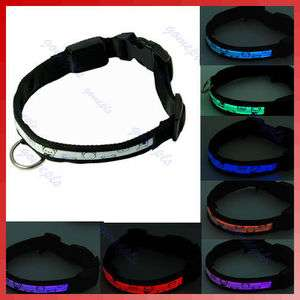 Nylon 7 Color LED Flash Light Pet Dog Cat Safety Collar