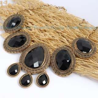 Golden Round Water Drop Oval Black Resin Beads Pendant Necklace
