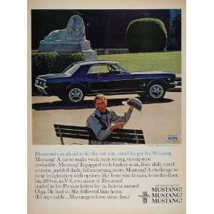 1965 Color Print Ad Blue Ford Mustang Hardtop Car Auto