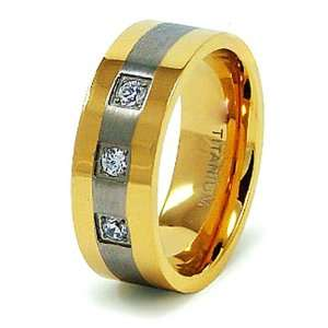 8mm Gold Plated Titanium Ring with CZ   Size 12 West