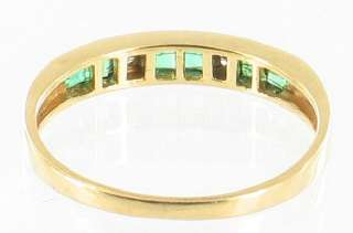 10K GOLD PRINCESS CUT EMERALD DIAMOND GOLD RING sz 6.5