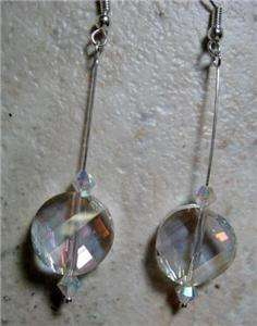 SPARKLY FACETED CRYSTAL SWAROVSKI STERLING SILVER EARRINGS HOLIDAYS