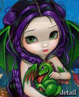 Dragon Garden 3 gothic fairy fantasy art fae BIG PRINT