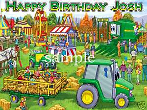 JOHN DEERE Edible CAKE Image Icing Topper Farm Tractor
