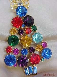 SWAROVSKI MULTI COLOR CRYSTAL LARGE CHRISTMAS TREE PIN BROOCH
