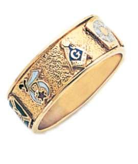 Rite 10k or 14k White or Yellow Gold Masonic Mason Ring