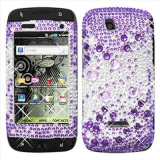 Purple Heart Bling Case for Samsung SideKick 4G T839+SP