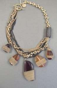 Jessica Simpson Hue Berry Multi Stone Charm Gold Tone Chain Necklace