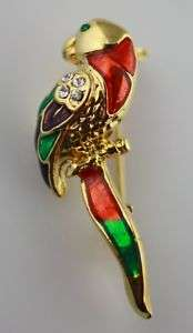 Gold tone rhinestone enamel Parrot bird pin brooch maca