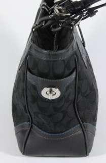 Black Coach Signature Logo Shoulder Bag Shopper Tote Purse 8K49