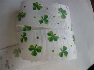 ST PATRICKS GROSGRAIN RIBBON WHITE GREEN SHAMROCKS