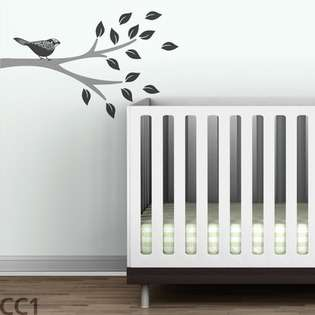 Floral Bird Branch Wall Decal   Color Metallic Silver / Charcoal