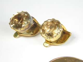 LOVELY ANTIQUE ENGLISH 9K GOLD CITRINE EARRINGS & BROOCH / PIN c1900