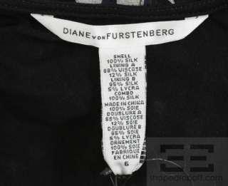 DVF Diane von Furstenberg Navy, Black, & White Silk Hot Dot Dress Sz 6