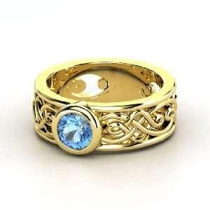 Alhambra Ring, Round Blue Topaz 14K Yellow Gold Ring Jewelry