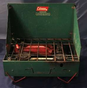 VINTAGE COLEMAN PROPANE PORTABLE CAMPING STOVE DUAL BURNERS