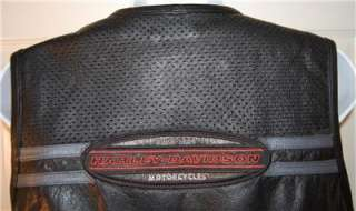 Harley Davidson Open Throttle Perforated Leather Vest Womens XL NWOT