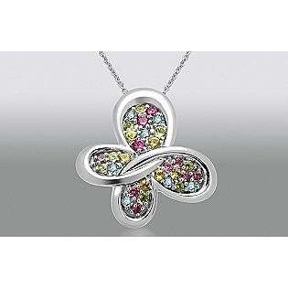 Sterling Silver Butterfly Pendant with Multi Gem, Emerald Accent  True