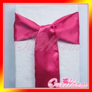 25 Hot Pink Satin Chair Sash Bow Wedding Party Colors