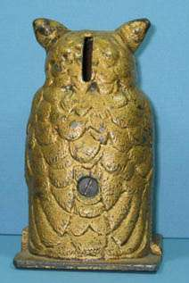 1930 CAST IRON OWL TOY BANK MADE BY VINDEX GUARANTEED OLD & AUTHENTIC