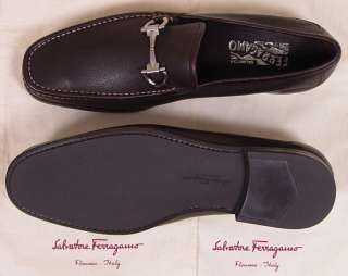 SALVATORE FERRAGAMO SHOES BROWN LOGO GANCINI VAMP CONTRAST LOAFER 11EE