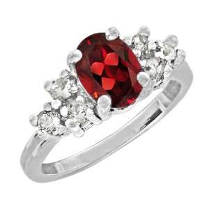 2.15 Ct 8X6 Oval Cut Red Garnet White Gold Ring New