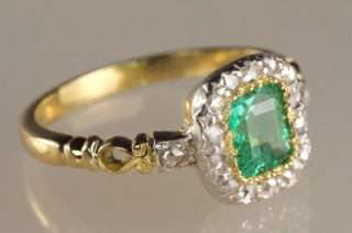 Victorian 18ct Gold Emerald & Rose Cut Diamond Antique Ring ca 1850