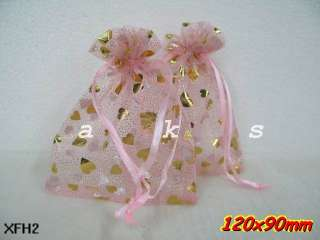 50PCS LARGE SIZE Various Heart Organza wedding favor gift pouch bags 3