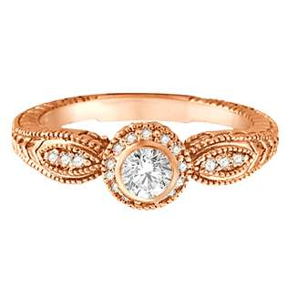 Diamond Bezel Ring 14K Rose Gold (0.40 ct)  Allurez Jewelry Diamonds