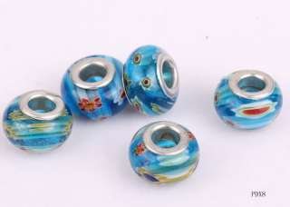 10xMixed Murano Lampwork Glass Spacers Loose Beads fit European Charms